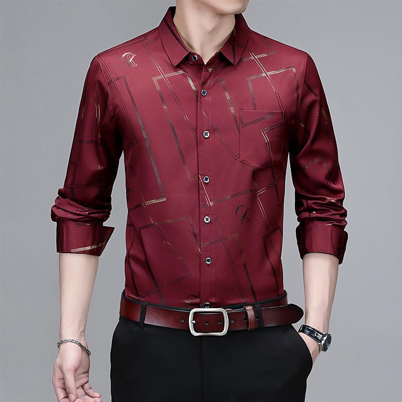 남자 패션 캐주얼 긴팔 인쇄 셔츠 슬림 맞는 남성 사회 비즈니스 드레스 브랜드 의류 소프트 편안한 남자 셔츠
