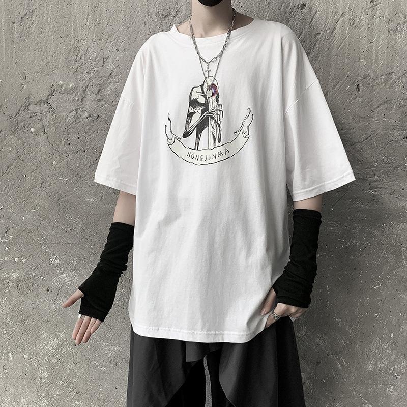 Ленивый стиль с коротким рукавом мода бренд хип-хоп 5 рукава футболки свободные Ruffian красивый мужской вершины