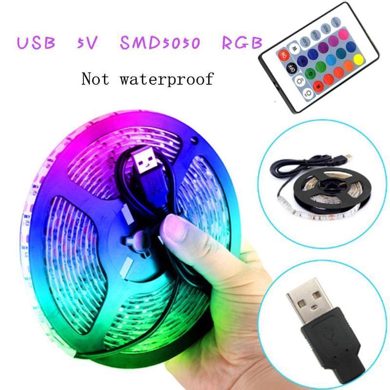 조명 스트립 USB 적외선 제어 RGB SMD DC5V 유연한 램프 테이프 다이오드 TV 배경 조명 LUCES LED