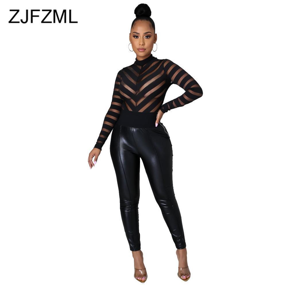 Frauen Jumpsuits Sexy Black Rundhals Hals Femme Langarm Tops Frühling Sommer Mesh Perspektive gespleißte Slim Nachtclub Party Body 210427