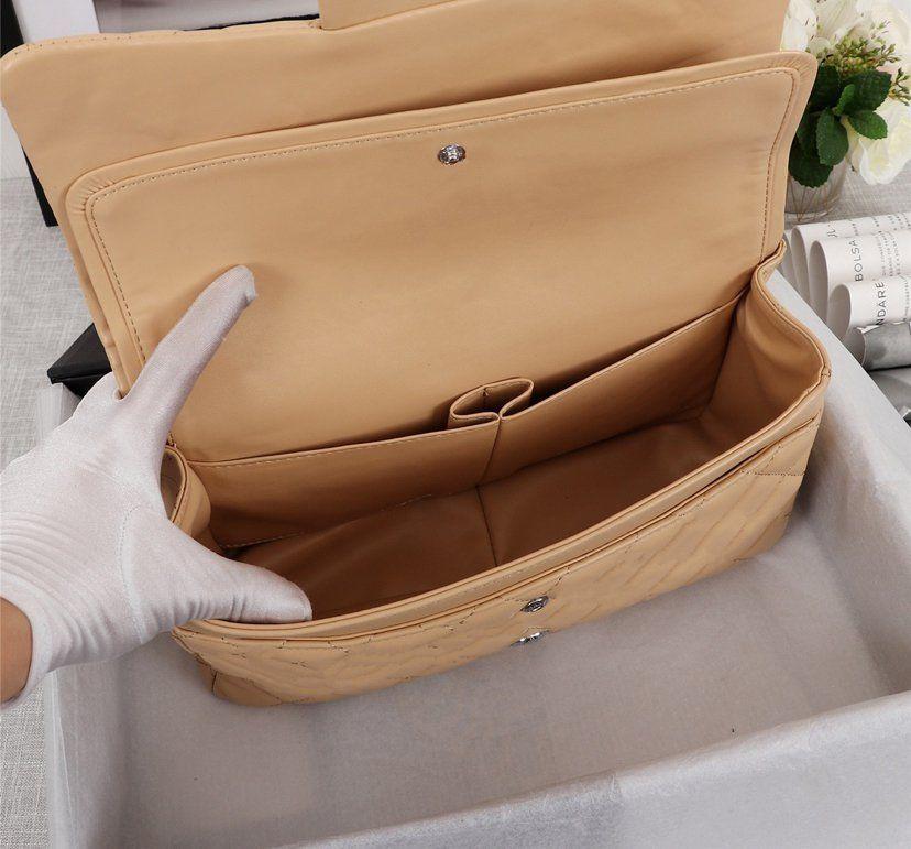 الأزياء حقيبة سلسلة crossbody رفرف أسود 30 سنتيمتر مزدوجة اللوحات حقيبة يد المرأة جلد طبيعي حقائب الكتف