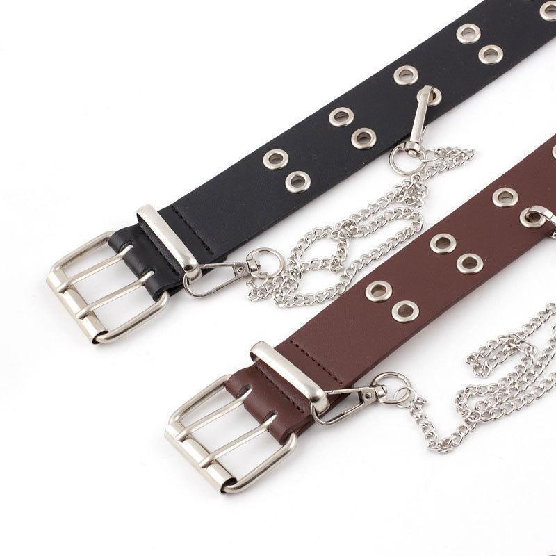 Belts Ladies Belt Fashion Double Vent Eye Chain Clause Adjustable Black Eyelet Buckle Metal Jeans