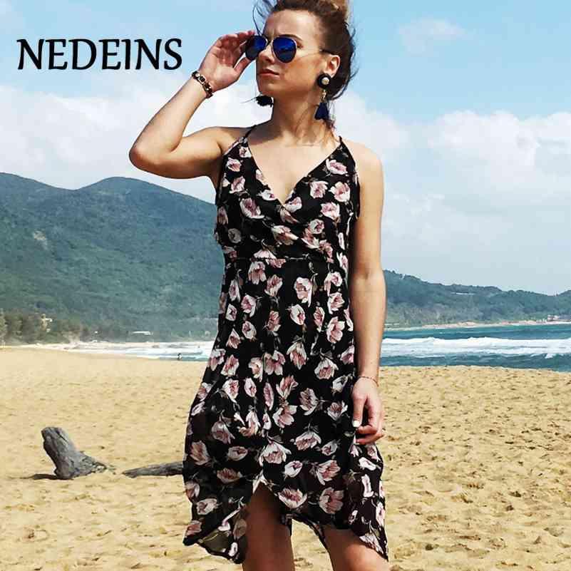 Nédeins Femmes Robe Summer Beach Mini Sundress Floral Sexy Fashion Club Strap 210420