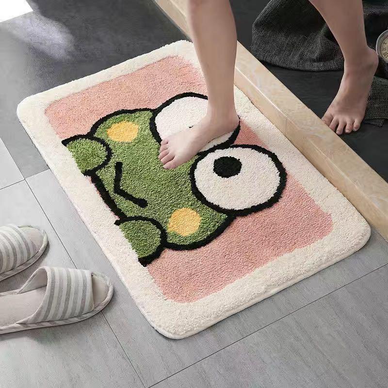 Bathroom Absorbent Carpet Anime Carpet Pure Color Bathroom Door Mat Heart-shaped Rug Area Carpet Household Floor Mat fluffy rug A0609