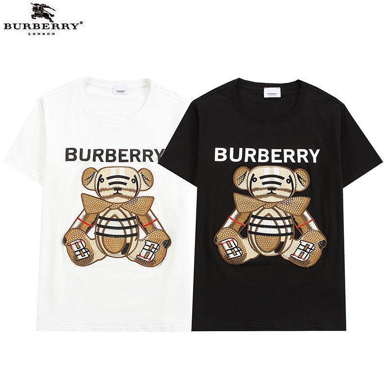 Nueva carta de moda bordado para hombres y cuello redondo para mujer de manga corta, camiseta de pareja suelta