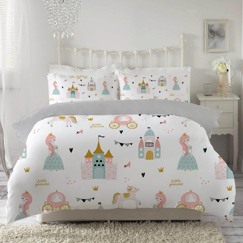Bettwäsche-Sets Mädchen Duvet-Deckung Kleine Prinzessin Set Rosa Weiches Bett Königin Single King Größe für Kinder 135x200 150x210