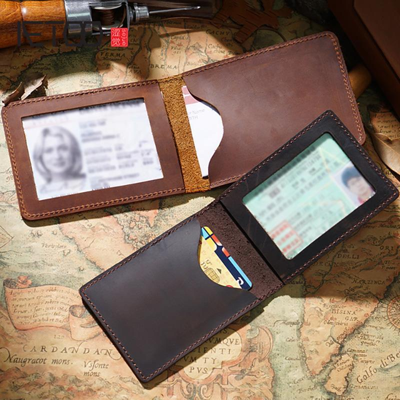 Card Holders AETOO Leather Driver's License Holster, Vintage Mad Horse Driving Men's And Women's Small Bag