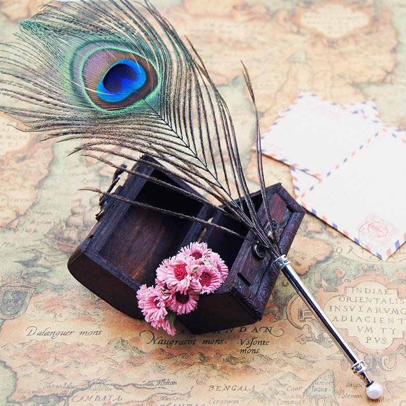 طالب حفلة عيد الإحسان ريشة حبر جاف ريشة اللون الحبر القلم القرطاسية الطاووس الريش شكل أقلام للفردية T9I001235