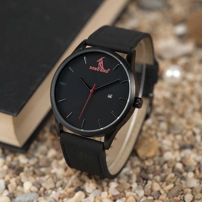 Bobo-Vogel-einfache Metalluhr Männer Top-Marke Luxus Armbanduhren mit Kalenderanzeige in Geschenkbox Dropship 210603