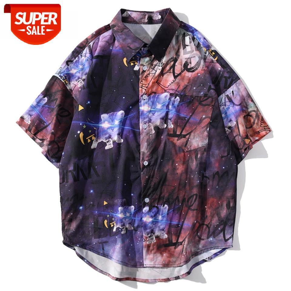 Hawaii Plaj Gömlek Erkekler Büyük Boy Yıldız Baskılı Yarım Kollu Moda Streetwear Gevşek Hip Hop Tees Renkli # GM3Z Tops