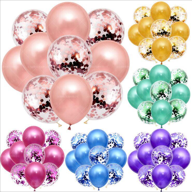 10 unids / set Glitter Confetti Latex Globos Romántico Decoración de la boda Baby Shower Fiesta de cumpleaños Decoración de la fiesta de cumpleaños Claro Air Globos