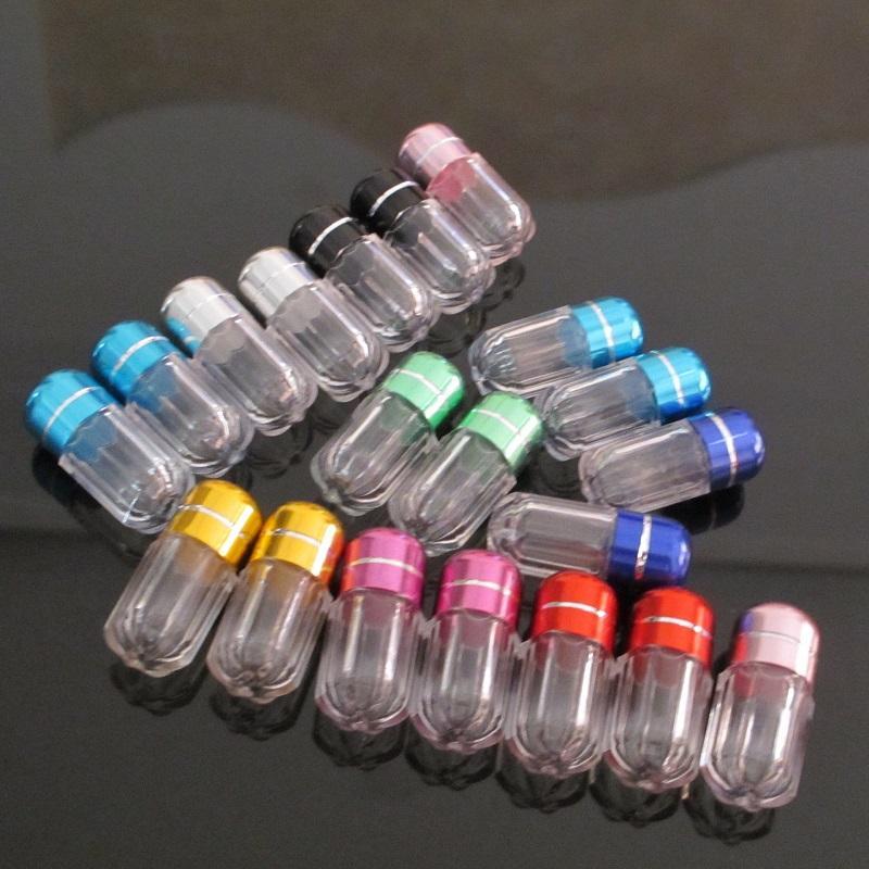 حبة زجاجة واضحة فارغة المحمولة رشاقته الزجاجات البلاستيكية كابسولة حالة مع حاوية تخزين غطاء حامل المسمار الملونة