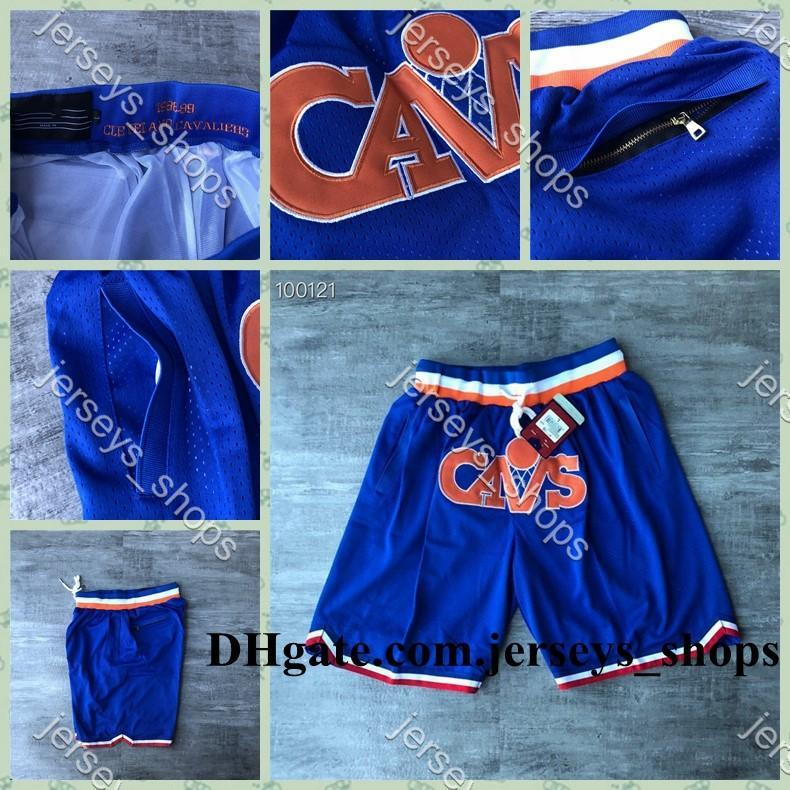 Mens ClevelandCavaliersBasketball Just Don Pocket Shorts Vintage Breathable Stitched Pants Mitchell & Ness Hip-hop Classic Shorts