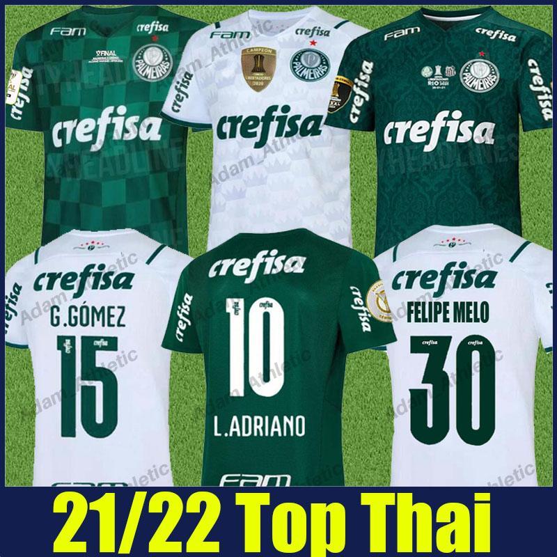 Palmeiras Soccer Jerseys 2021 2022 الصفحة الرئيسية Breno Lopes Felipe Melo L.Adriano Football Shirts Rony Ramires G.Veron G.Gomez زي Camisa de Verdao White والأخضر