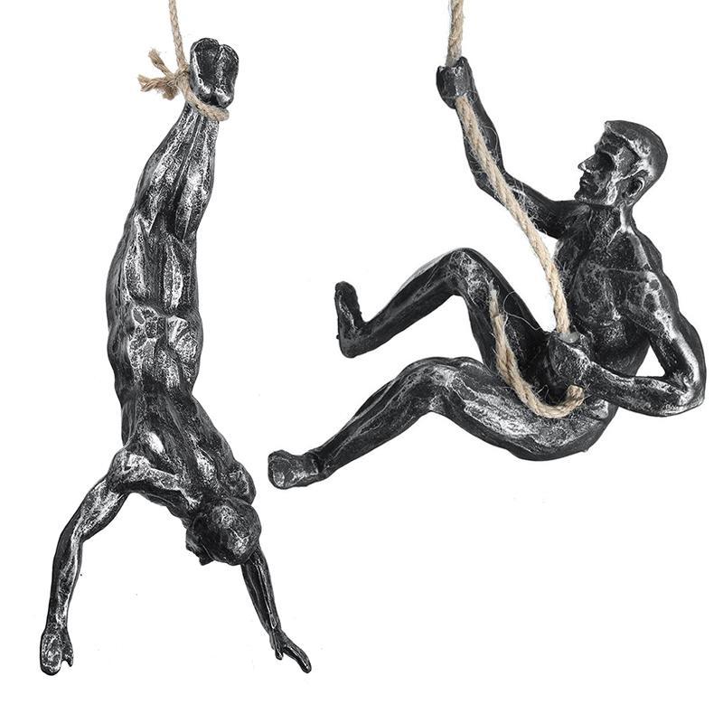 크리 에이 티브 암벽 등반 동상 펜 던 트 레트로 수지 인물 극단적 인 스포츠 벽 매달려 장식 바 거실 거실 홈 근육 남자 조각 장식