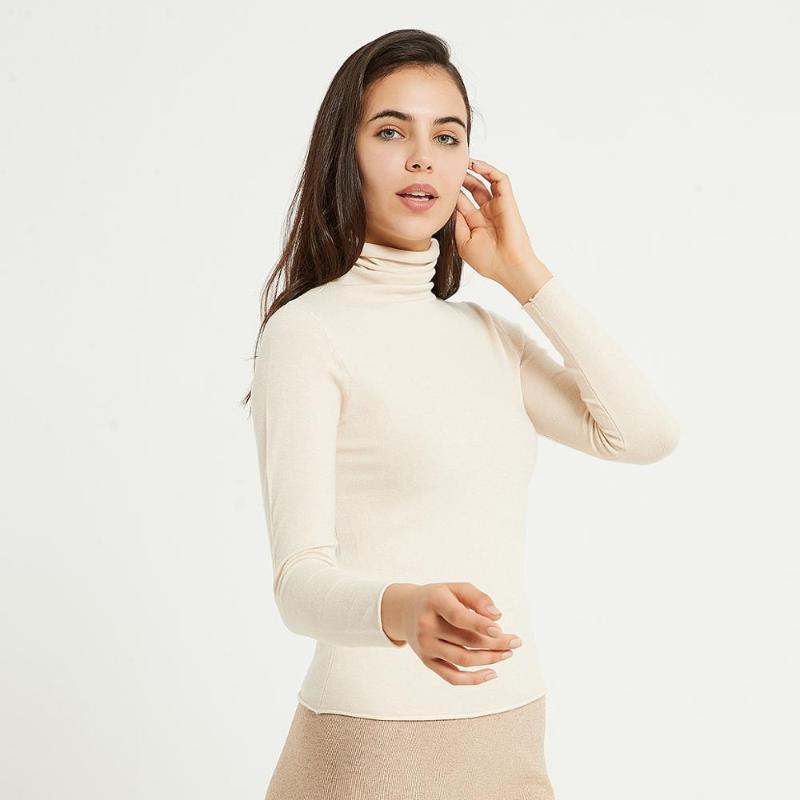 Weiche feste Strickmuster von Wixra Damen Damen Langarm Turtscheck Grundlegende Pullover Pullover Herbst Feder Hohe Stretch Tops1