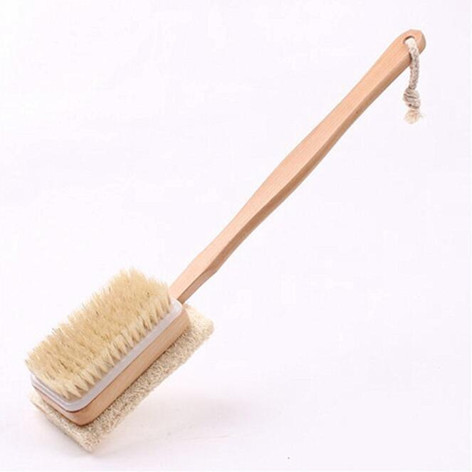 2 en 1 cara cerdas naturales Loofah cepillos de ducha corporal con mango largo de madera Pincel de espalda Masaje corporal