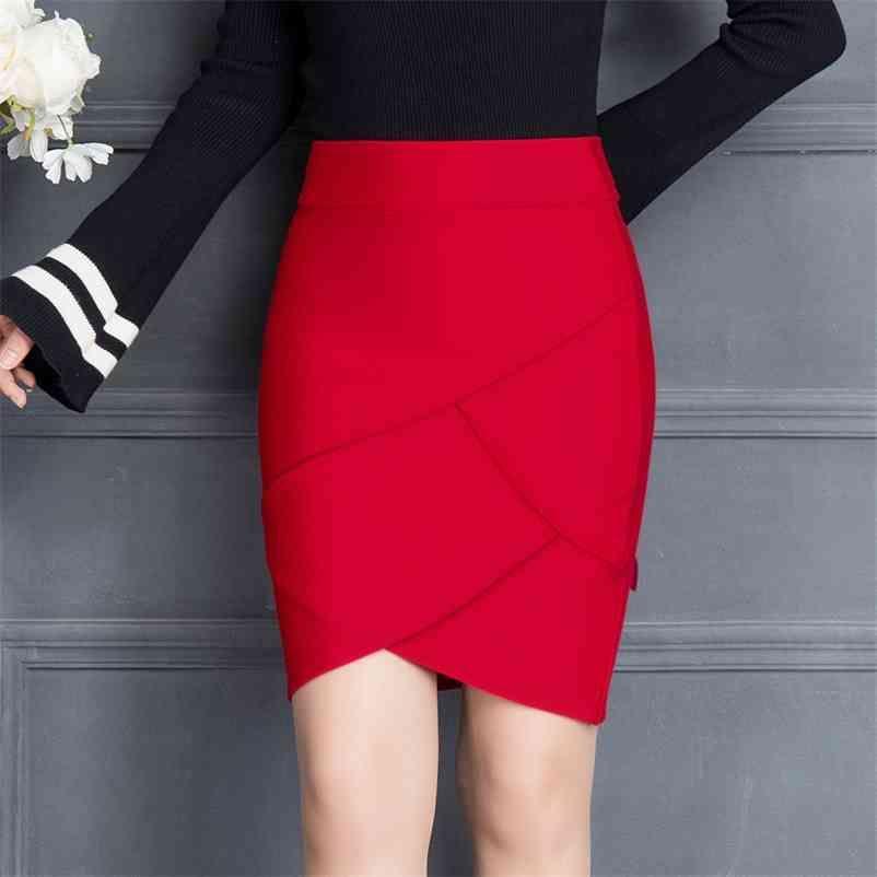 Sommer Frauen Arbeitsrock Mode Slim Rüschen Elastische Hohe Taille Packung Hüftrock Schwarze und rote Röcke 210412