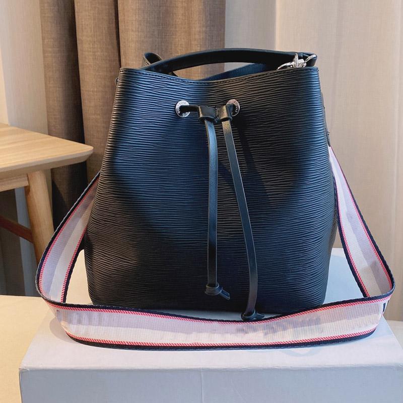 Women Handbags Drawstring Bucket Bag Top Handle Totes Fashion Letter Shoulder Bags Wave Pattern Genuine Leather Interior Zipper Purse Adjustable Strap