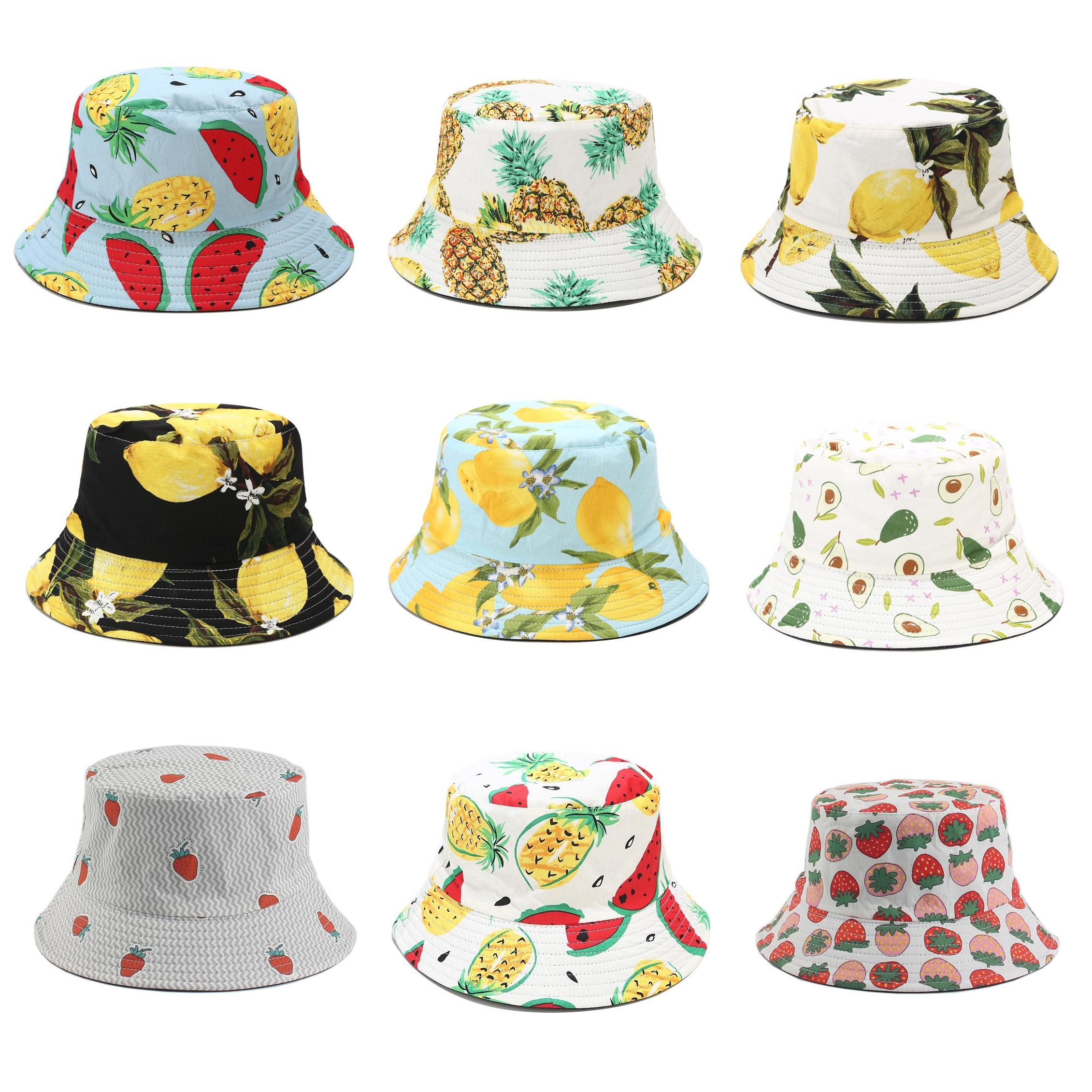 Fisherman hats with tropical print and fruit design for men women summer outdoor sunshade hat