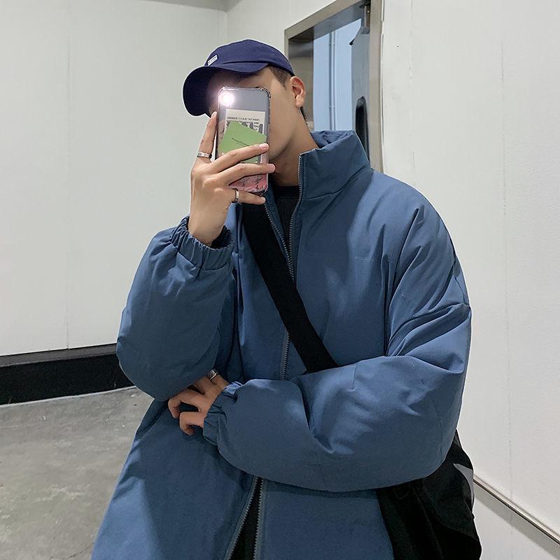 남성용 순수한 색상 따뜻한 파카 코트 2021 겨울 스탠드 칼라 여성 한국의 Streetwear 대형 패션 드레스 다운 파카