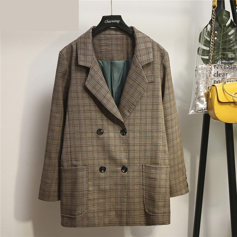 Large Size Women's Autumn Coat 2021 Fashion Plaid Women Blazer Retro Button Lattice Suit Jacket Female Casual Coats Suits & Blazers