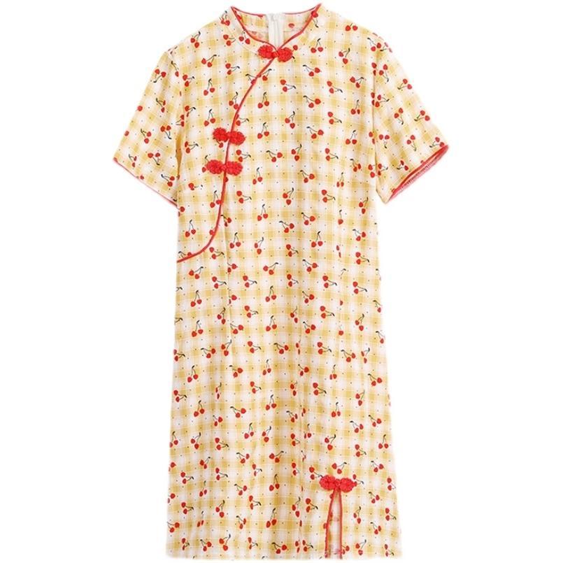 Plus Größe M-4XL Baumwollleinen gelb gelb Plaid Fashion Moderne Cheongsam Kleid Frauen Kurzarm Qipao Traditionelle chinesische Kleidung 210603