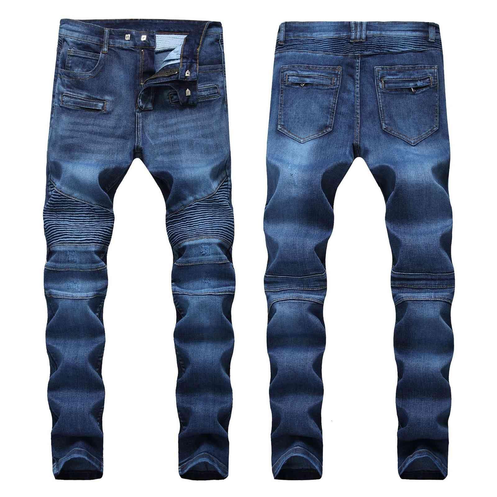 Erkekler Jeans Sıkıntılı Skinny Moda Ince Motosiklet Moto Biker Nedensel Erkek Denim Pantolon Hip Hop