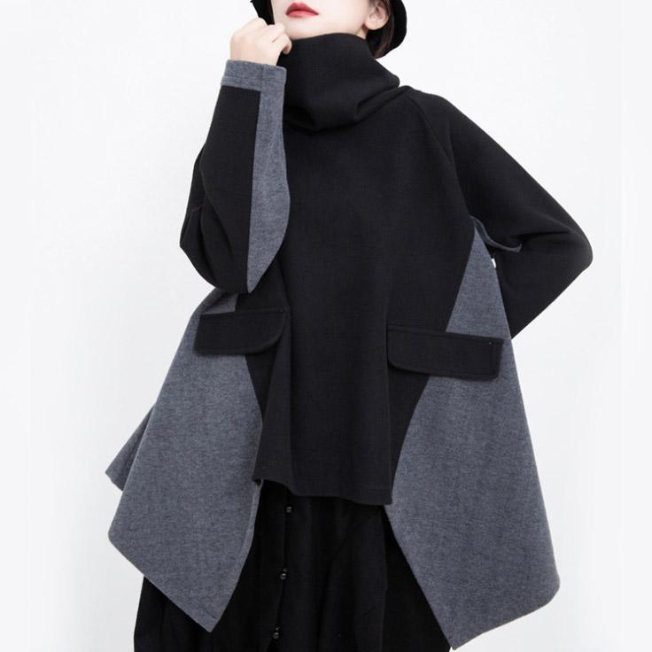 سترة تصميم المرأة كيب طويلة الأكمام فضفاضة صالح سترة الرقبة العالية الخريف الشتاء عباءة