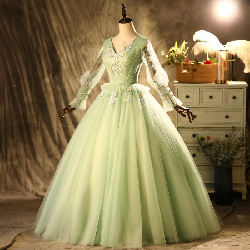 100% echte luxus helle grüne perlen stickerei floral veil laterne kleid mittelalterlich kleid renaissance kleid prinzessin kleid viktorianisch venedig / marie antoinett belle ball
