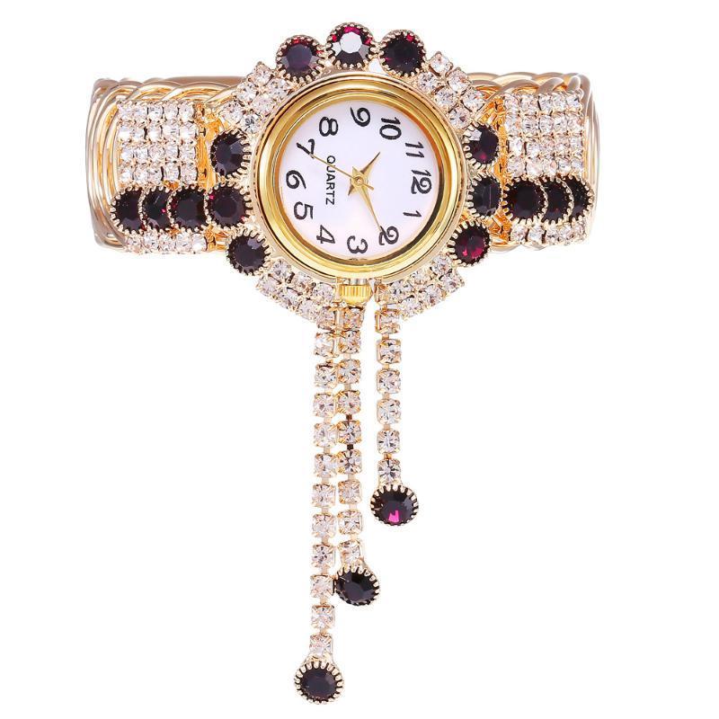 Luxury élégant bracelet montre dames fleur conception de la bande d'alliage doré femme robe femmes montres cristal femelle bracelet montre-bracelet montre-bracelet