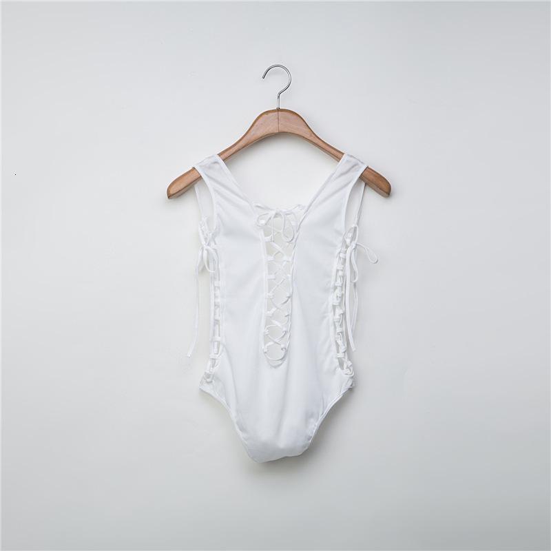 202175D suspensión de doble cara triángulo delgado bikini sexy abierta espalda correa de una pieza traje de baño mujer