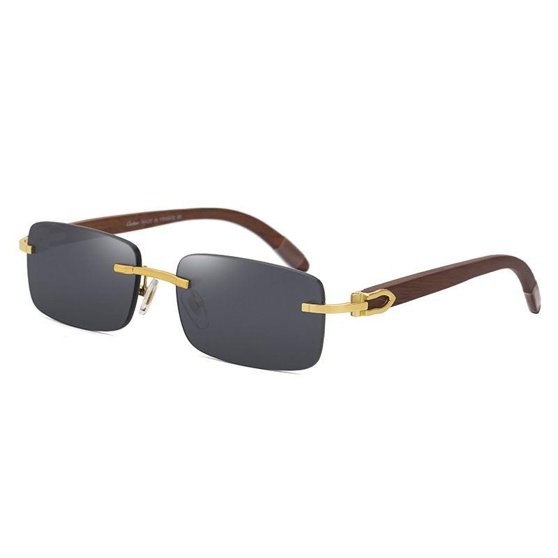 Tasarımcı Güneş Gözlüğü Doğal Ahşap Retro Kare Çerçevesiz Yüksek Sonu Kalite Marka erkek Gözlük Gafas Aksesuarları 2021