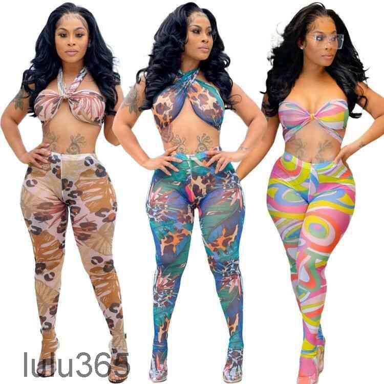 2021 Yaz Kadın Iki Parçalı Pantolon Set Seksi Örgü Kırpma Üst Perspektif Ekran Baskılı Gece Kulübü Stil Sutyen Kayışı Moda Kadın Giyim Lulu365