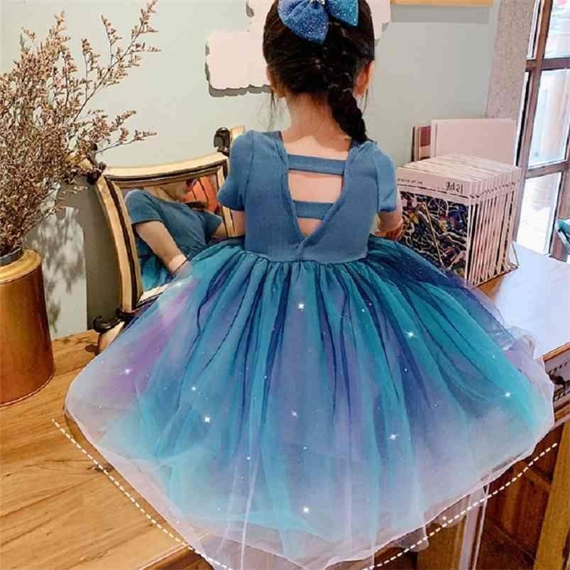 Vestido de niñas Dream Gradient Princess Manga corta Moda de verano Bebé Niños Ropa infantil 210625