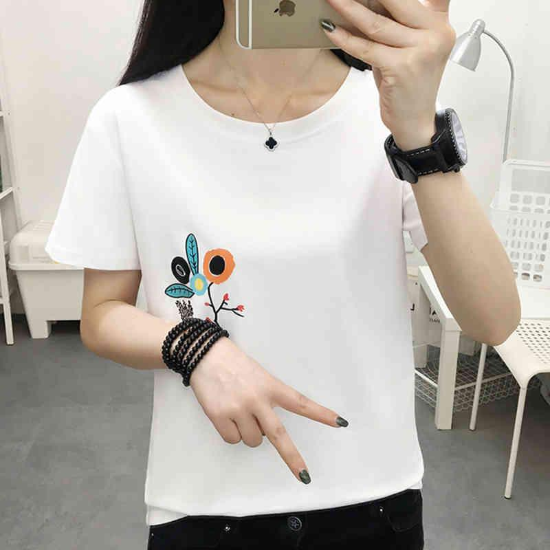Floral T Shirt Women Tshirt Female Cotton Summer Tops T-Shirt Woman Korean Style Fashion Clothing Tee Shirt Femme Plus Size 210412