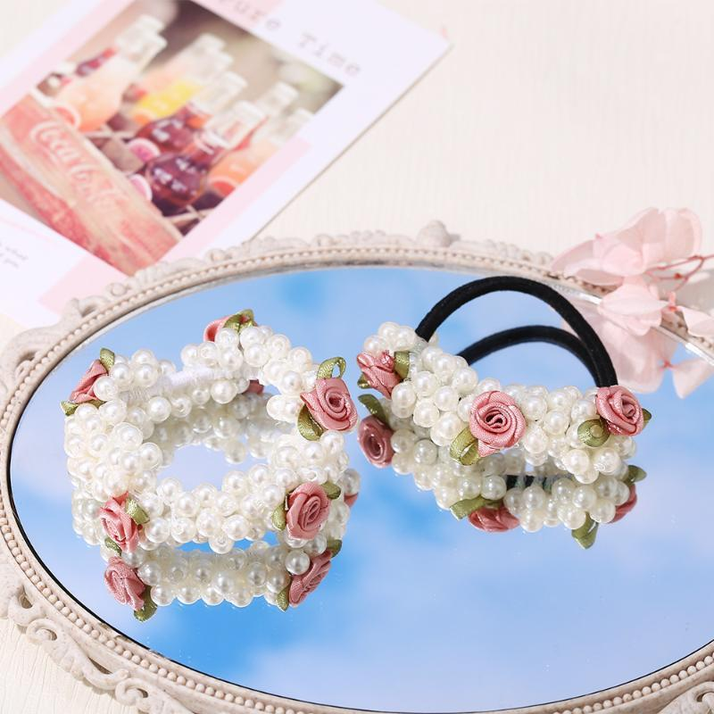 Flower Shape Rubber Bands Bracelet For Women Girl Cute Pearl Elastic Hair Accessories Party Birthday Gift Charm Bracelets