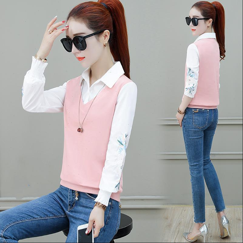Autumn Embroidered Sweatshirt Long Sleeve Women Shirt Stitching Thick Tops Feminine Patch Buttons Plus Size 3XL