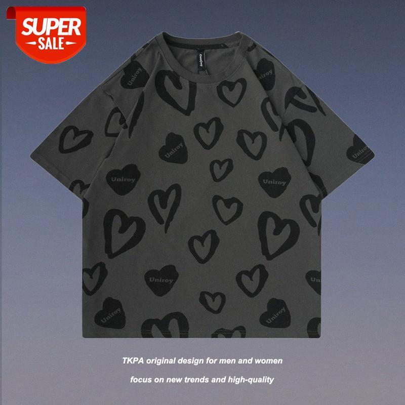 Sommer Liebesherz voller Graffiti National Flut Lose Casual Männer und Frauen Paare Kurzarm T-Shirt Tops # PU7Z