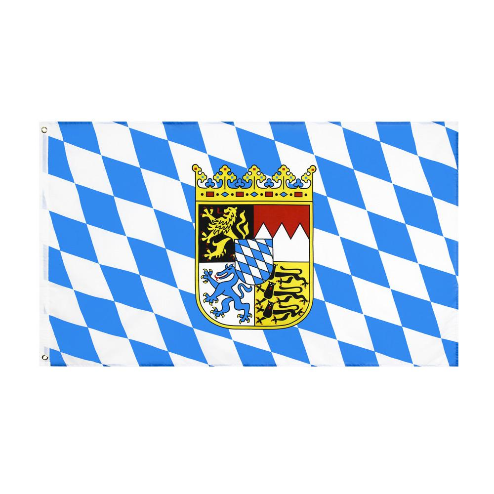 Bavyera Bayrağı Büyük 3 X1.5 FT Ayak Oktoberfest Bavyera Çek Bayrak Aslan Alman Bavyera Bayrakları Banner 90 * 150 cm Polyester Pirinç Grommets ile Ev Bahçe Duvar Tekne Dekorasyonu