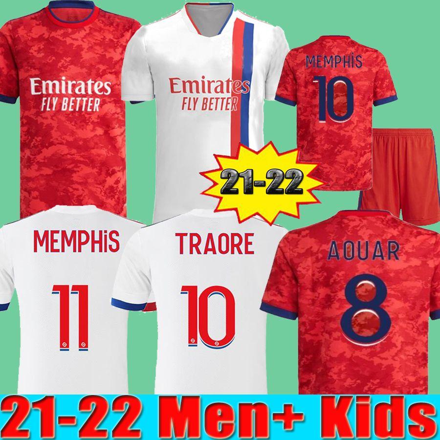 21 22 Maillot de Foot Olympique Lyonnais Lyon Futbol Formaları Erkekler + Çocuklar 2021 2022 Camisetas Memphis Traore Fekir Aouar Futbol Gömlek Tayland