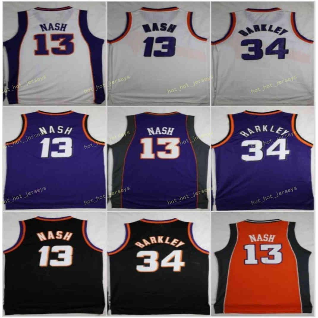 빈티지 농구 유니폼 찰스 34 Barkley Steve 13 Nash 보라색 화이트 블랙 스티치 셔츠 Phoenlx