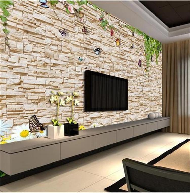Wallpapers Vine Brick Murals Chinese TV Backdrop Wallpaper Living Room Bedroom Papel De Parede Po