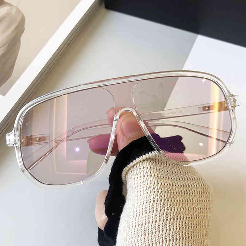 Übergroße einteilige Schild Sonnenbrille für Frauen Vintage klar Wutrchen Rosa Sonnenbrille Weibliche neue UV400-Farbtöne Big Frame