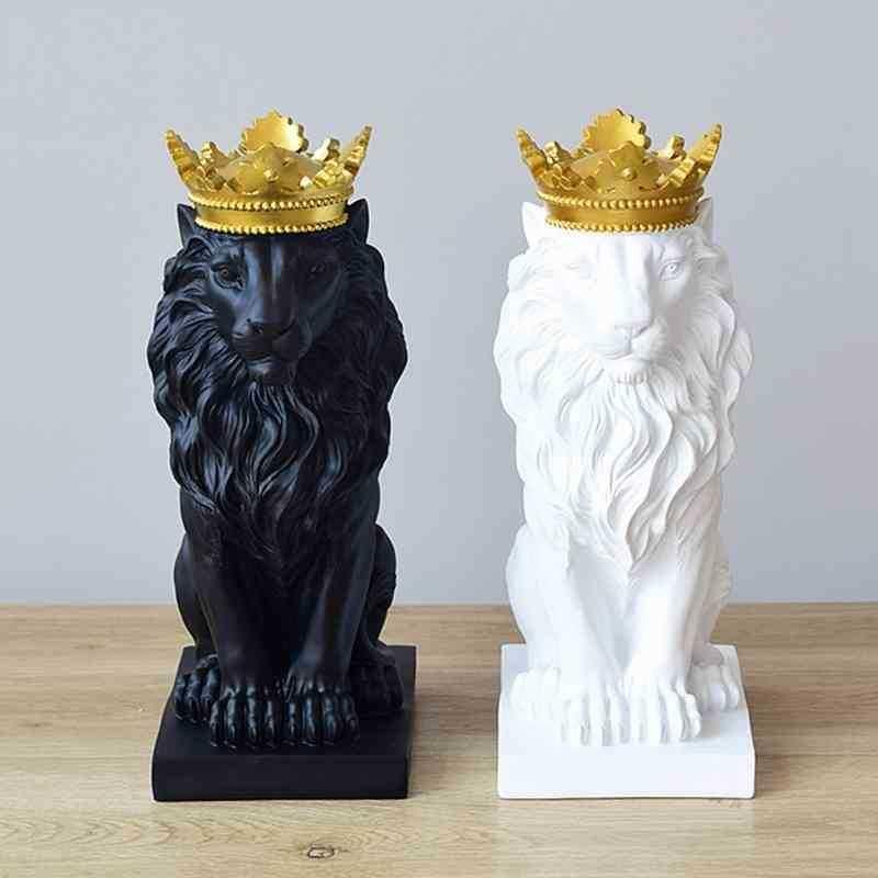 Crown Lion Statue Home Office Bar león fe resina escultura modelo artesanía ornamentos animal origami abstracto arte decoración regalo T200330