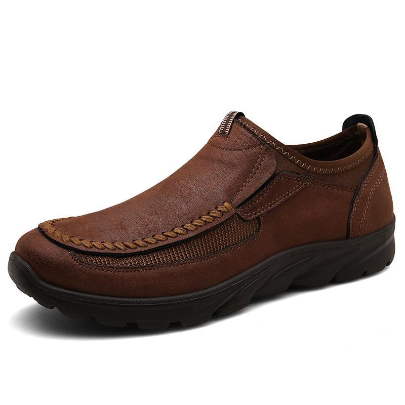 새로운 패션 슬립 캐주얼 남성 로퍼 봄과 가을 망 신발 정품 가죽 남성용 평지 신발 Zapatos Hombre 큰 size48