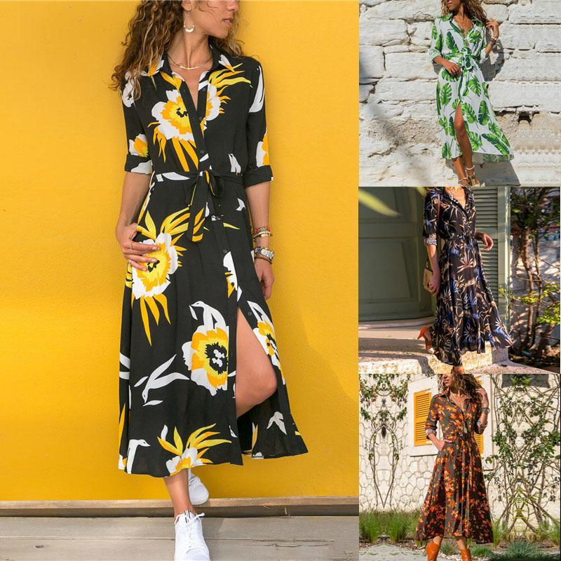 Casual Dresses Women's Lapel Chiffon Dress Flower Print Long Sleeve Fashion Womans High Waist Lace Elegant Clothing For Female
