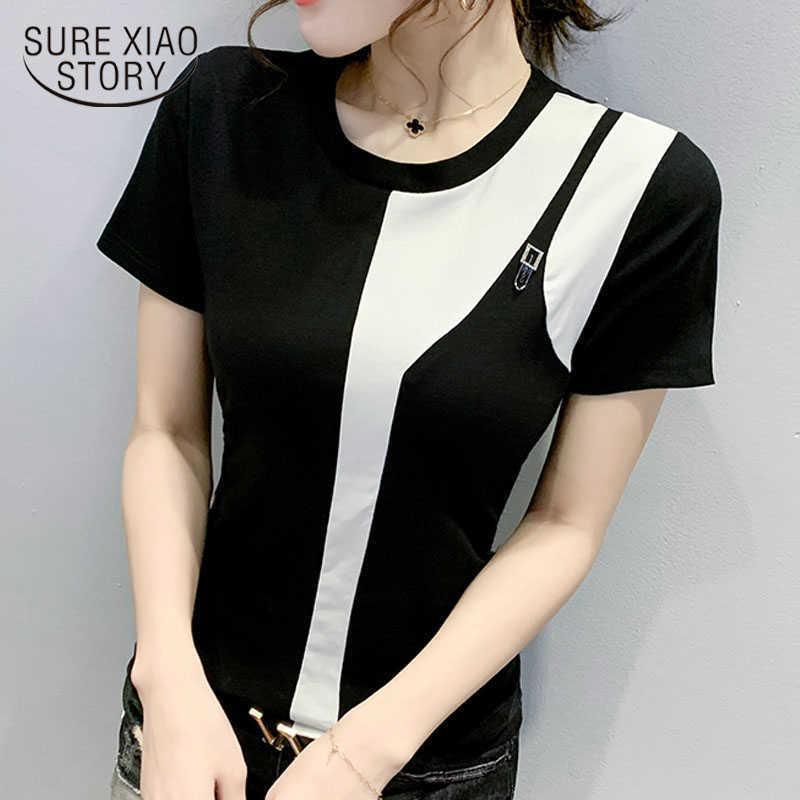 Summer Thin Fashion White & Black Blouse Short Sleeve O-Neck Spliced Cotton Shirt Women Chic Chemisier Femme 9208 210527