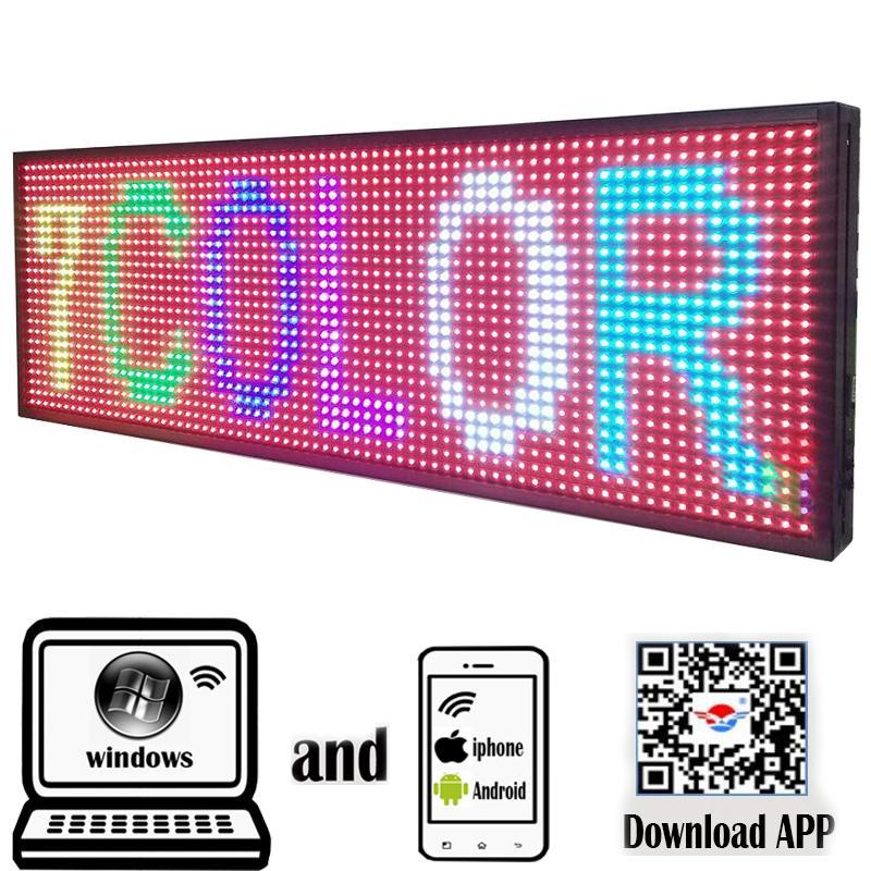 """Signo LED Programable Pantalla electrónica de desplazamiento al aire libre 39 """"x 14"""" Teléfono a color completo Control WiFi Abra Ejecutar en funcionamiento Tablero de mensajes"""