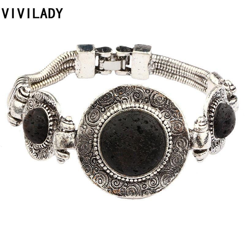 Est yuvarlak doğal siyah lav taş bilezikler kadınlar retro gümüş renk çinko alaşım zincir ispanyolca takı bayan hediyeler link,